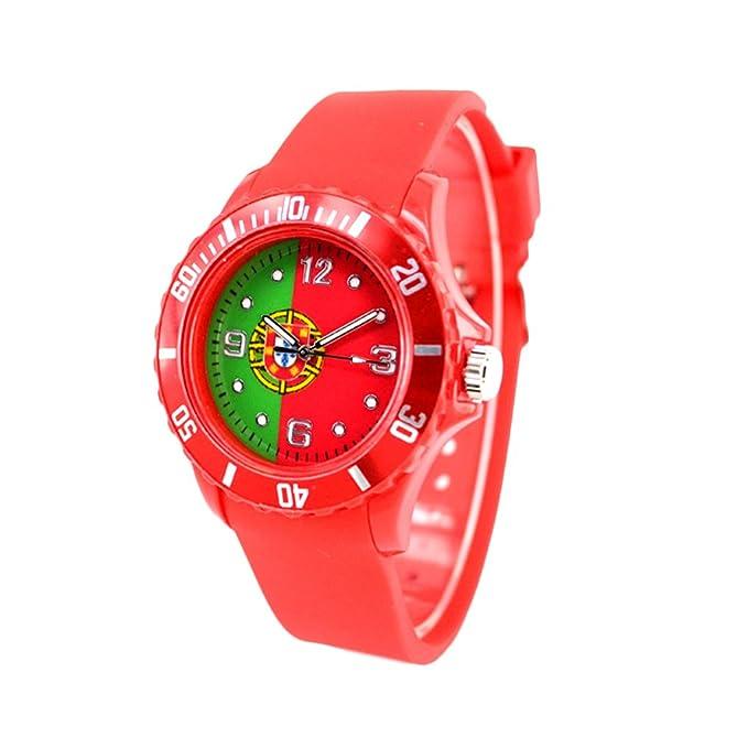 Reloj con la bandera de Portugal con pulsera de Silicona