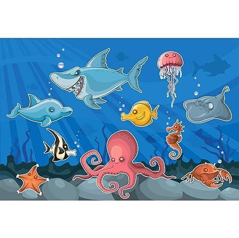 OERJU 1,5x1m Submarino Mundo Fondo Tiburón de Dibujos ...