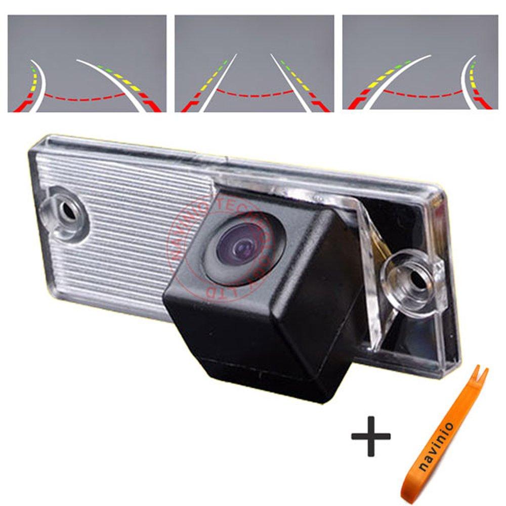 Navinio 170 ° Visualización Invertir la pista línea de la cámara de la regla con el volante en movimiento trasero copia de seguridad de la cámara de visión nocturna HD CCD para Kia Cerato 2004-2009