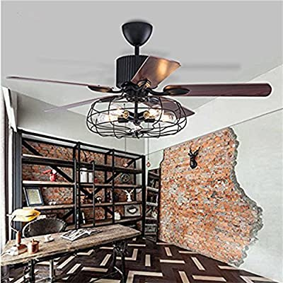 "Fandian 52"" Vintage Ceiling Fan with Lights Industrial Chandelier Remote Control Lamp Reversible Lighting fixture, Silent Motor Bulbs Required"