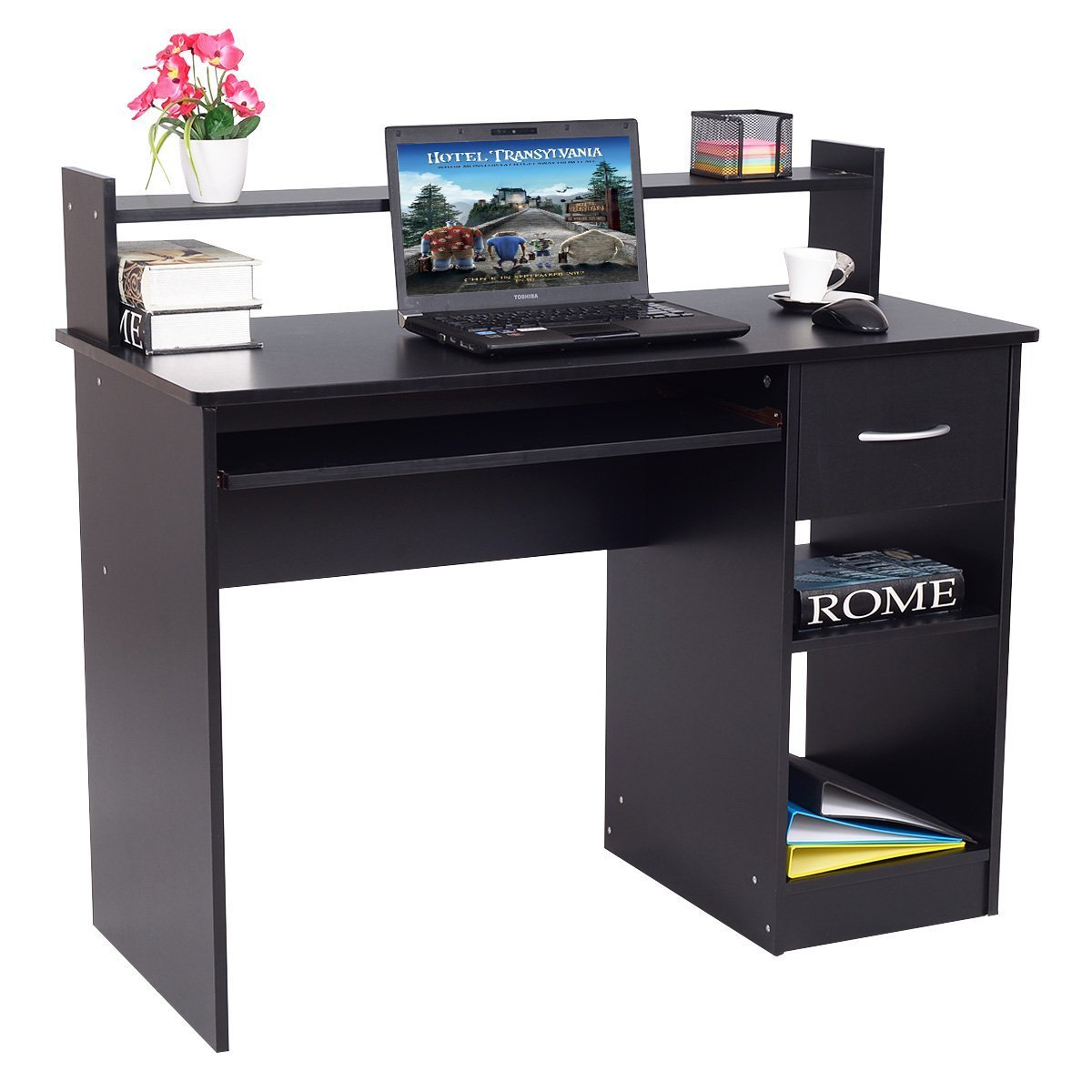 Tangkula Computer Desk Modern Home Office Furniture PC Laptop Workstation Compact Space Saving Computer Table Laptop Table with Pull-Out Keyboard Tray & Storage Shelf (Black with Drawer)