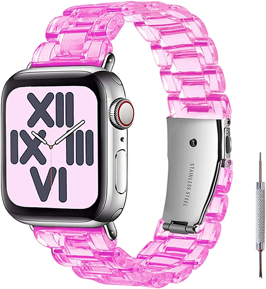 PROATL Clear Resin Strap Compatible with Apple Watch Band 38mm 40mm 42mm 44mm with Stainless Steel Buckle, Fashionable Apple iWatch Replacement Wristband Bracelet for Series SE/6/5/4/3/2/1 Women Men