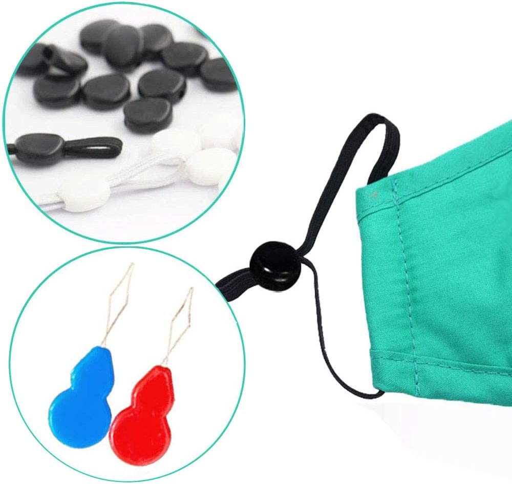 50pcs, White Shensee Plastic Cord Locks Silicone Toggles for Drawstrings Elastic Cord Round Elastic Mask Adjustment Buckle Adjuster Non Slip Stopper
