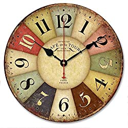 Wooden Wall Clock, Yesee Retro Style No Ticking Silent Clock Battery Operated with Famous Movement, [NO CASE] Vintage Decorative Wooden Wall Clock for Living Room,Bedroom (12 Inches,Cafe Tour)