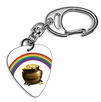 Olla de oro del arco iris de púa de guitarra llavero con ...