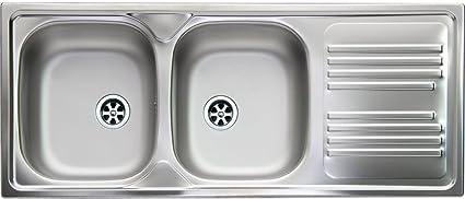 Lavello Cucina Incasso 2 Vasche Gocciolatoio Sx 116 cm Acciaio ...