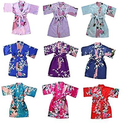 TOLLION Girls' Peacock Satin Kimono Robe Bathrobe Nightgown Wrap Sleepwear