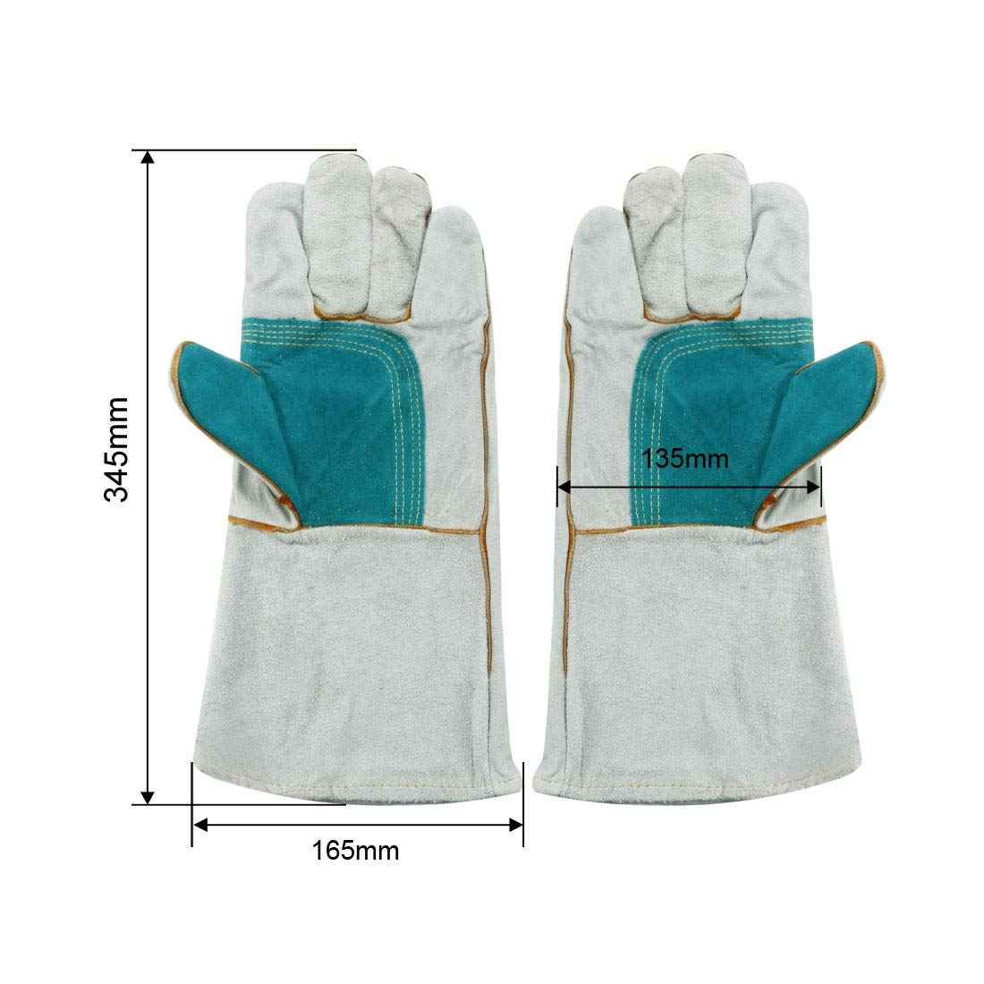 uxcell Cowhide Leather Work Gloves 330x135mm Gray for Welding Process Protection 1 Pair