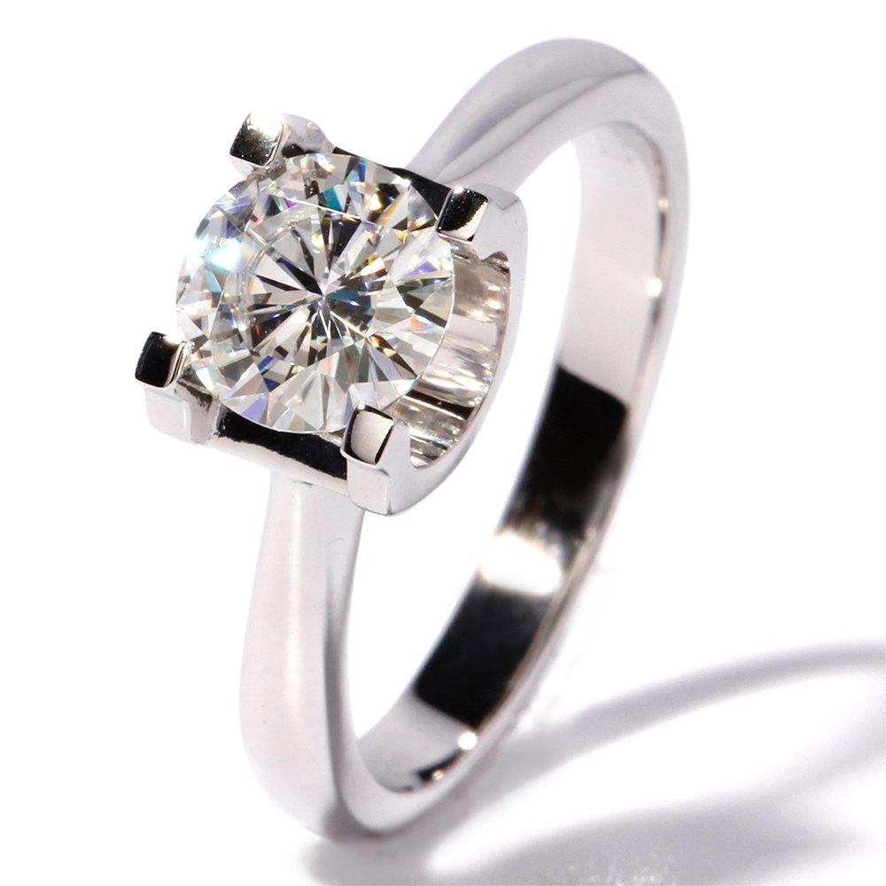 TransGems 1 CT Super White Moissanite Simulated Diamond Elegant Solitare Wedding Engagement Ring 14K Gold