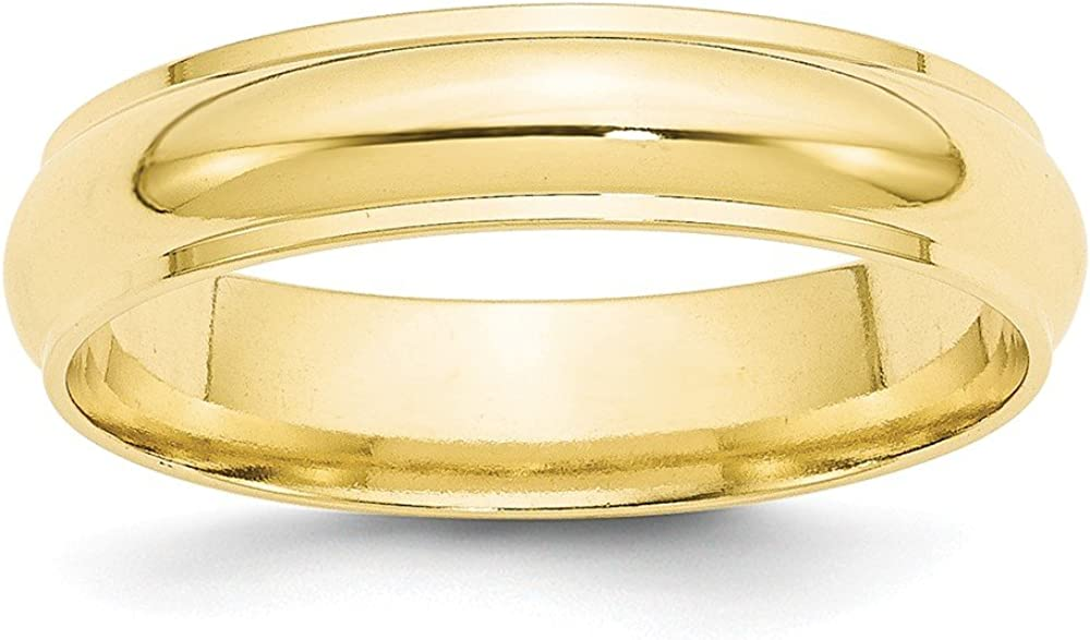 10K Yellow Gold Wedding Band Ring Ridged Standard Half Round Solid Polished 5 mm 5mm Half Round Edge B
