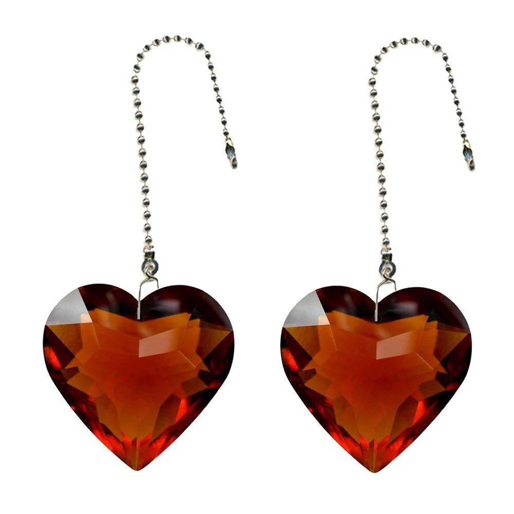 SogYupk Heart Prism Crystal 30mm Pendant Polyhedral Prism 2 Ceiling Zipper (Amber)