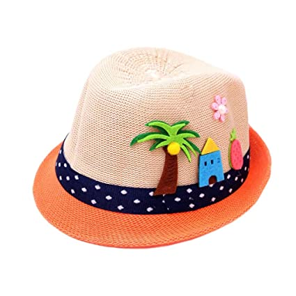 e84915a1 Molyveva Summer Baby Toddler Straw Sun Hat with Wide Brim Sun Protection  and Travel Beach Foldable