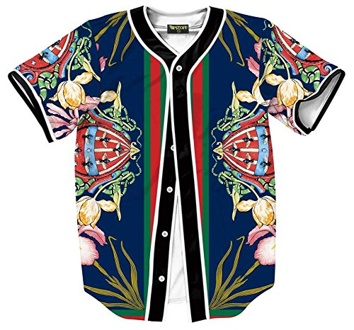 PIZOFF Short Sleeve Arc Bottom Baseball Team Jersey 3D All Over Luxury Gold Floral Snake Bees Print Basketball Shirt Hip Hop Dance V-Neck Button Down Tops Y1724-63-L - Gold 3d Baseball