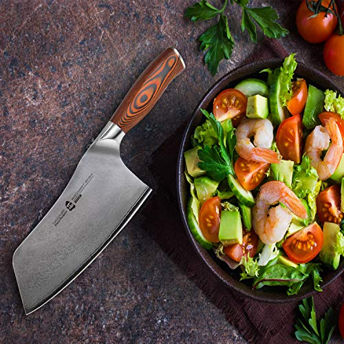 TUO Cutlery Cleaver Knife - Japanese AUS-10 67-Layers Damascus Steel - Chinese Chef's Knife For Meat And Vegetable With Ergonomic Pakkawood Handle - 7'' - Fiery Series by TUO Cutlery (Image #3)