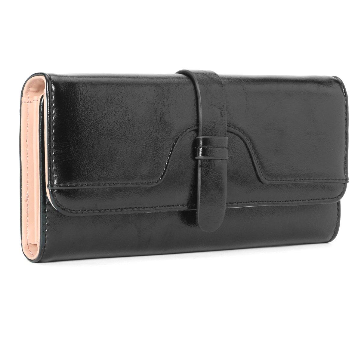 Ladies Purse, Tezoo Women's Blocking Large Capacity Luxury Wax PU Leather Clutch Wallet Card Holder Organizer Black