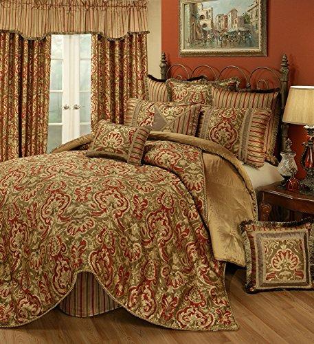 Austin Horn Classics Botticelli 4-Piece Bedding Collection, California King, Rust (Austin Bedskirt)