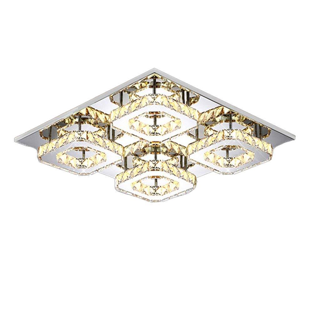 SAILUN 48W Warmweiß Quadrat LED Kristall Deckenleuchte Badleuchte Licht Schlafzimmer Wohnzimmer Deckenlampe (48W Warmweiß)