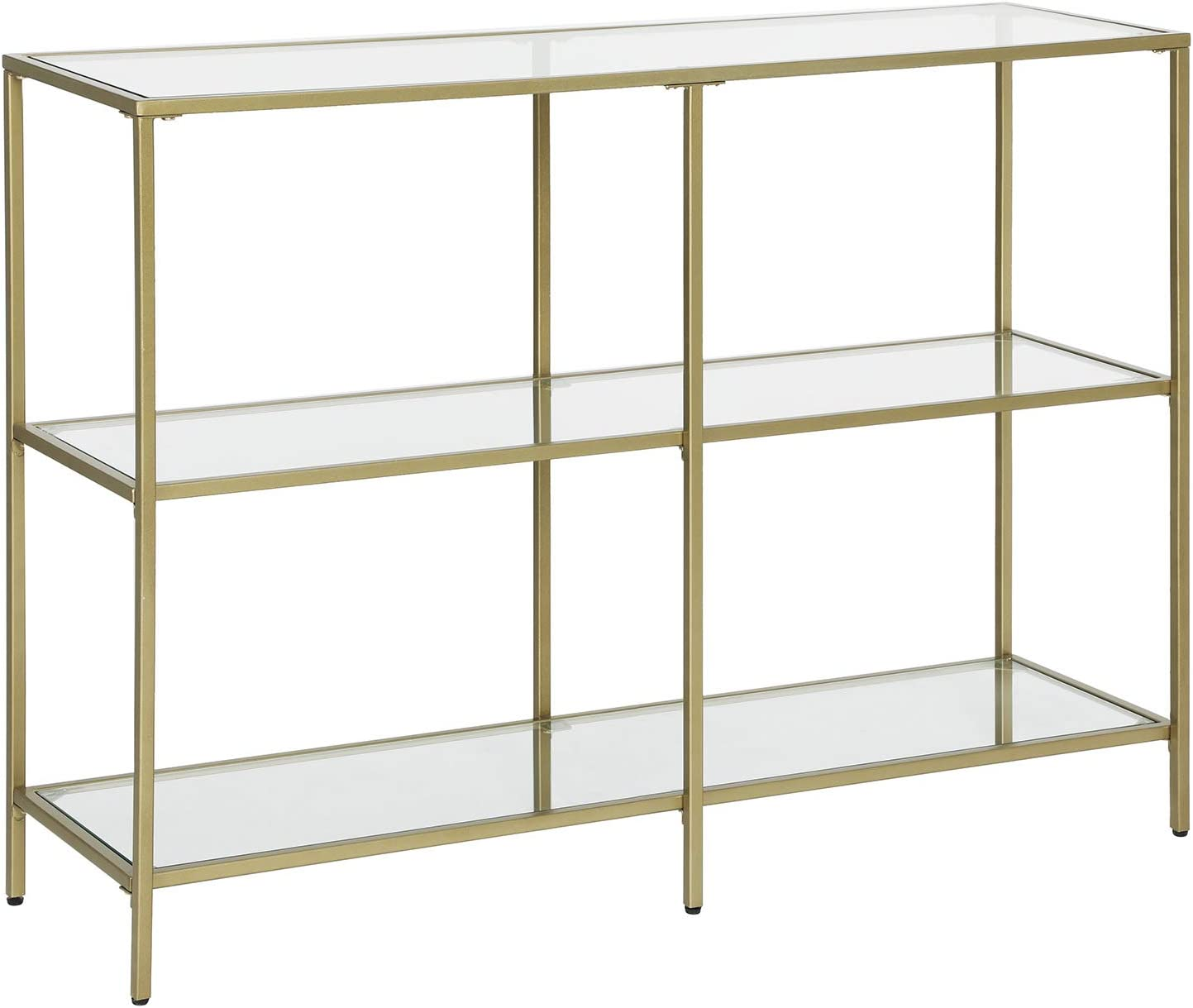 VASAGLE Console Table, Tempered Glass Sofa Table, 3-Tier Storage Rack, Modern Shelf, Sturdy, Easy to Assemble, for Living Room, Hallway, Kitchen, Golden ULGT27G