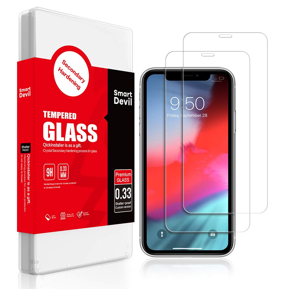 SmartDevil Screen Protector for Apple iPhone XR 6.1-Inch, [Anti-Fingerprint] [Bubble Free] [Case Friendly] HD Tempered Glass Film, [2 Pack]