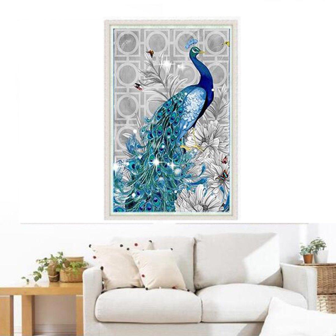 Cuadro con bordado y cristales decorativos con dibujo de un pavo ...