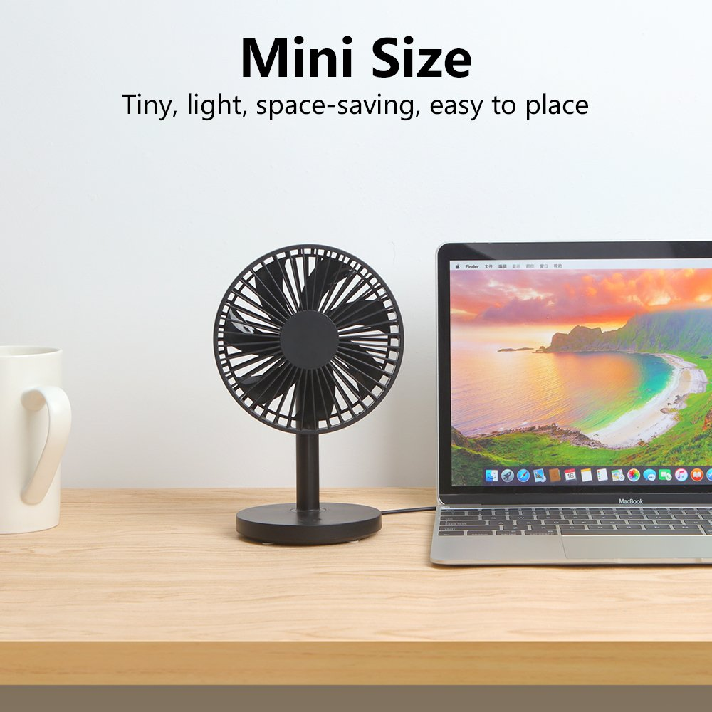 OURRY Desk Fan, Small Mini USB Table Desk Desktop Personal Fan, Quite Operation, 3 Speeds, High Compatibility, Cooling for Home, Office (Black) by OURRY (Image #2)