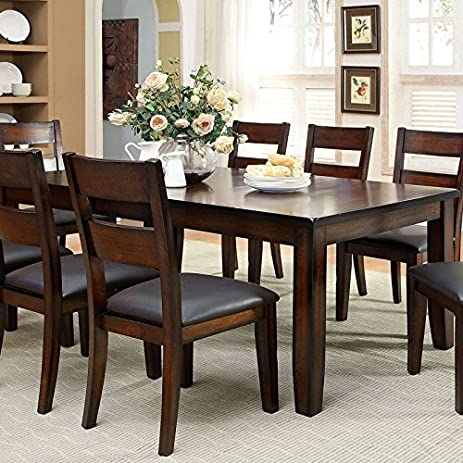 Rivington Transitional Style Dark Cherry Finish 9 Piece Dining Table Set