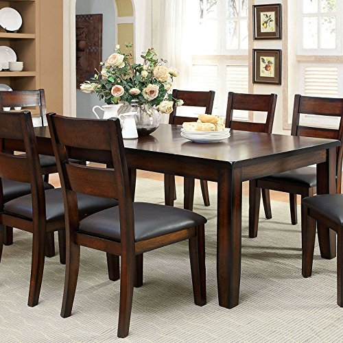 Rivington Transitional Style Dark Cherry Finish 9-Piece Dining Table Set