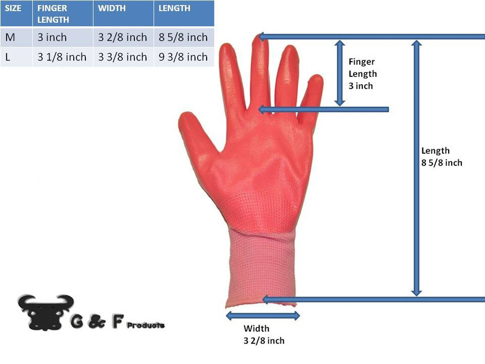 G /& F 15226L Womens Garden Gloves Womens Large 6 Pair Pack assorted colors nitrile coated work gloves