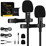 EIVOTOR 2 Pack Professional Lavalier Lapel Microphone,Omnidirectional Lapel Micwith Clip-on Perfect for iPhone Android Smartp