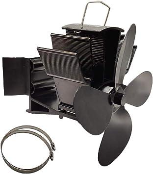 Vanana 2019 ventilador de 4 aspas para estufa de leña, 4 aspas para colgar en la pared, ventilador para estufa de leña/leña/chimenea: Amazon.es: Bricolaje y herramientas