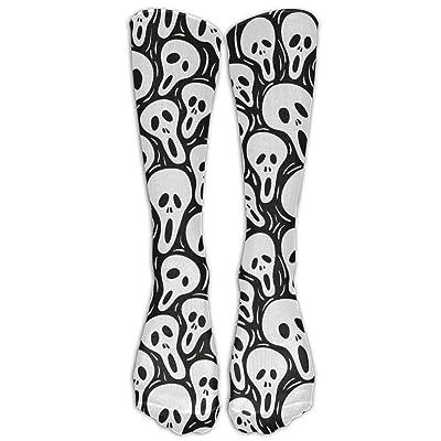 LINSHANGYI Skull Ghost Below Knee Stockings Cute Stretchy Crew Socks For Training