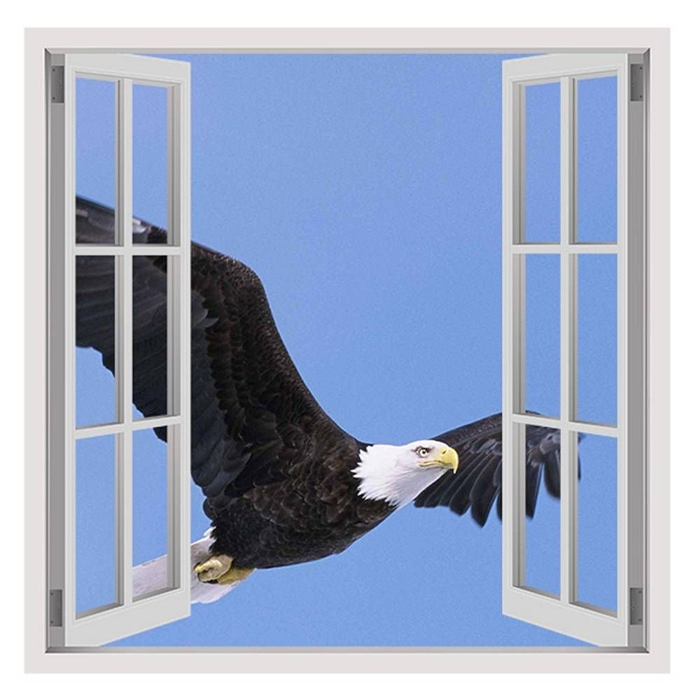 Alonline Art Eagle In The Sky Fake 3D Window FRAMED STRETCHED CANVAS (100% Cotton) Gallery Wrapped - READY TO HANG | 30''x30'' - 76x76cm | For Bedroom Frame Framed Artwork Framed Print Framed Paints