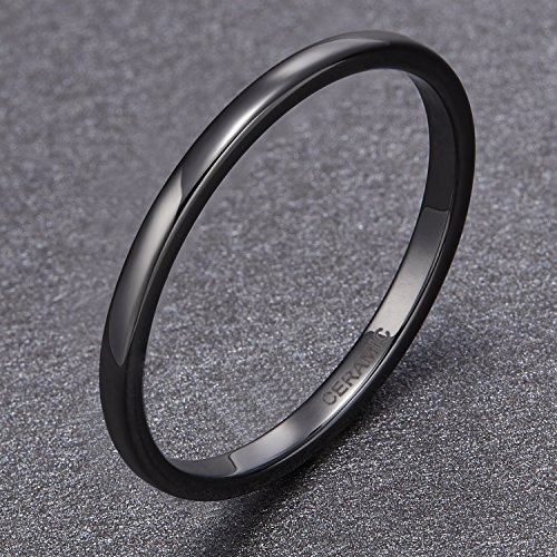 SOMEN TUNGSTEN 2mm 4mm 6mm Black/White Ceramic Rings for Men Women Comfort Fit Engagement Wedding Band Size 4-12 by SOMEN TUNGSTEN (Image #2)
