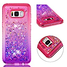 for Galaxy S8 Case Glitter Liquid and Screen Protector,Gradient Colors Design Shiny Diamond Frame Clear Slim Fit Protective Phone Case,QFFUN Bling Sparkle Floating Quicksand Back Cover Shockproof Anti-Scratch Soft TPU Bumper - Pink and Purple