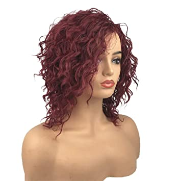 Aimole Curly Wigs Synthetic Women Wig Medium Length Dark Red Hair Capless Natural Wigs