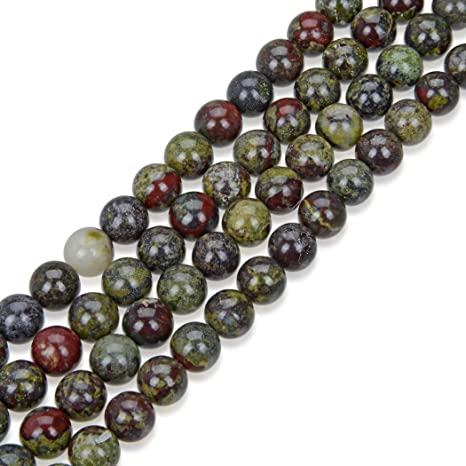 5Strds Natural Dragon Blood Jasper Stone Beads Round Smooth Unique Semi Gems 8mm