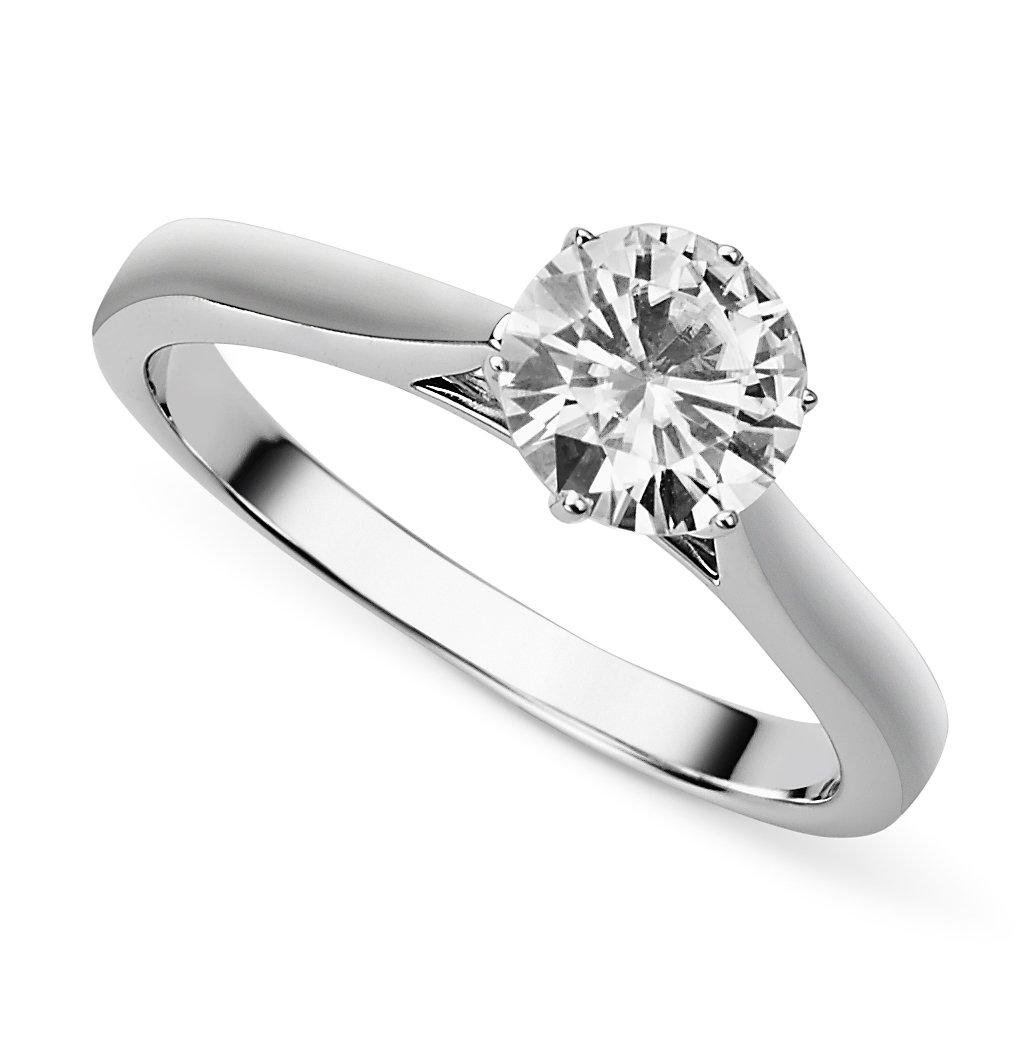 White Gold 6.5mm Round Forever Brilliant Moissanite Engagement Ring Size 9.0 By Charles & Colvard