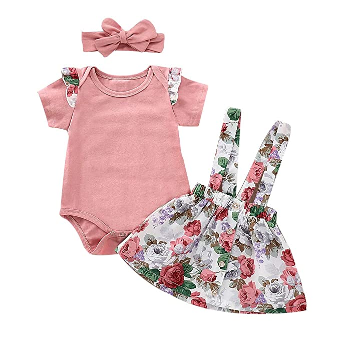 e120d571e Infant Baby Girl Clothes Short Sleeve Pink Ruffle Romper Bodysuit Suspender  Floral Strap Skirt Dress with