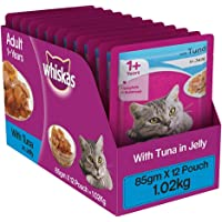 Whiskas Wet Meal Adult Cat Food, Tuna in Jelly, 1.02 kg (Pack of 12)