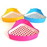 Hosaire 1X Triangle Clean And Tidy Corner Toilet Litter Mini Pan Tray For Rabbits Mice Hamster Cage Guinea Pigs and Rodents.Size: 25× 18 × 10 cm-Random Color