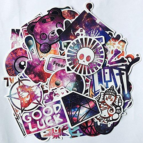 ACHICOO 50Pcs Galaxy Graffiti Stickers Cartoon Stickers as Luggage Car Decoration Kid GIFS