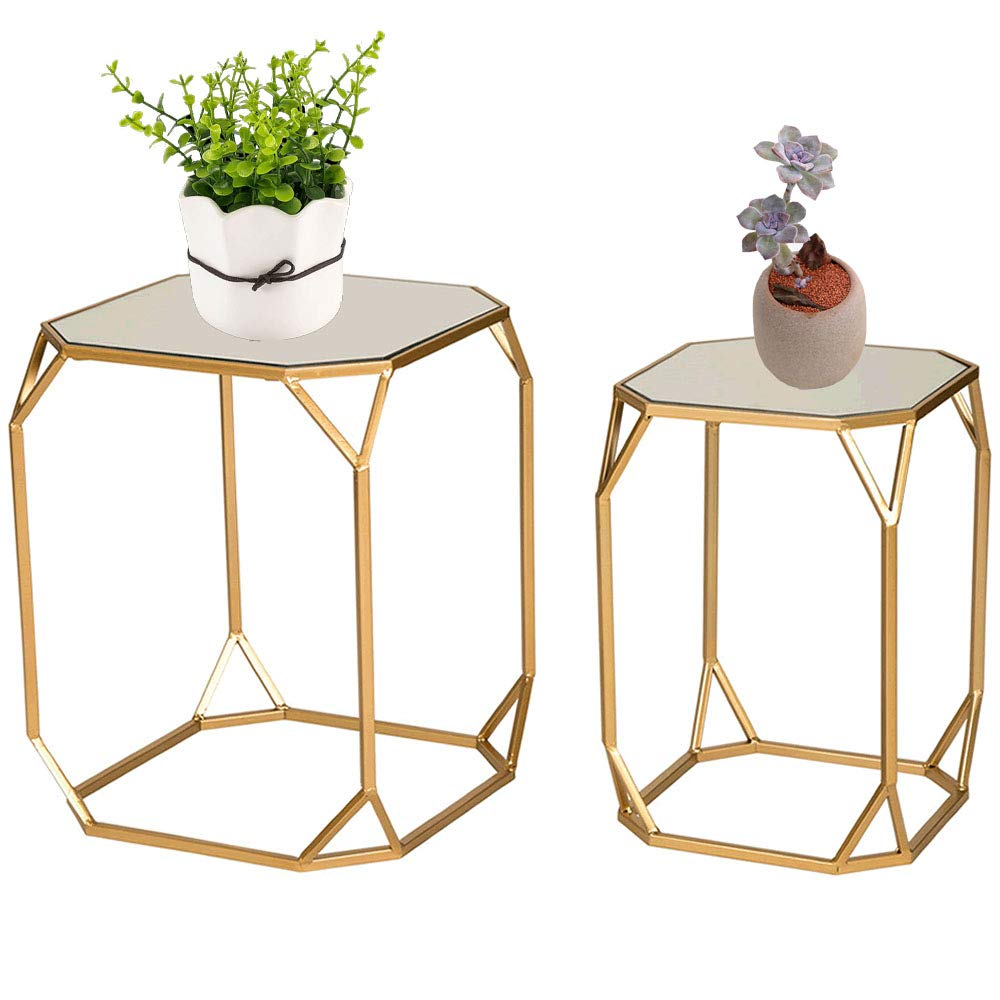 Glitzhome Set of 2 Nesting Coffee Tables Decorative Accent Plant Stand Chair for Bedroom, Living Room, Home Office and Patio by Glitzhome