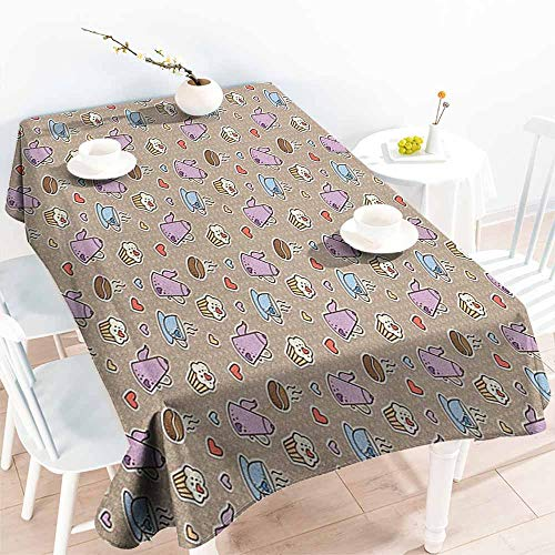 EwaskyOnline Tablecloth for Kids/Childrens,Tea Party Coffee Bean Kettles and Cupcakes with Heart Frosting on Polka Dotted Background,Table Cover for Dining,W60x84L, Multicolor
