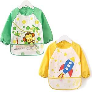 HaimoBurg Pack de 2 Baberos Impermeable Manga Larga Para Bebé Niños Niñas 1 a 4 año: Amazon.es: Bebé