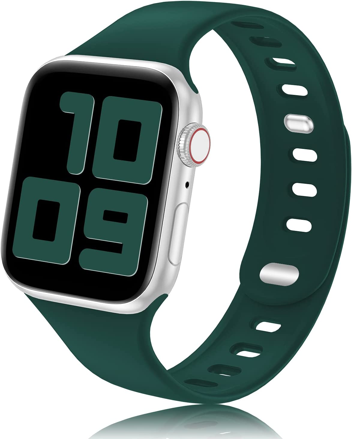 YAXIN Sport Band Compatible with Apple Watch Bands 38mm 40mm 44mm 42mm Women Men, Soft Silicone 2-clasp iWatch Bands Replacement Strap Compatible for iWatch SE Series 6/5/4/3/2/1, Dark Green