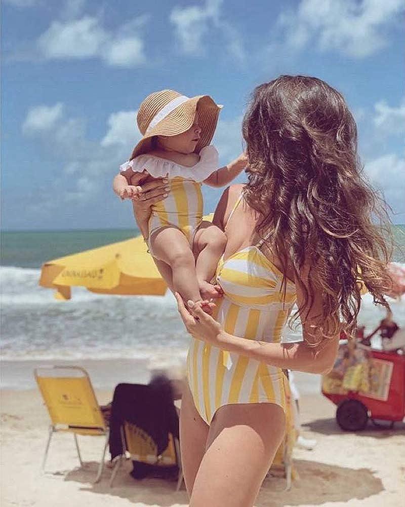 Yaffi Family Matching Swimwear One Piece Costume Vintage Stripes V Neck Monokini Bathing Suit Beach Wear