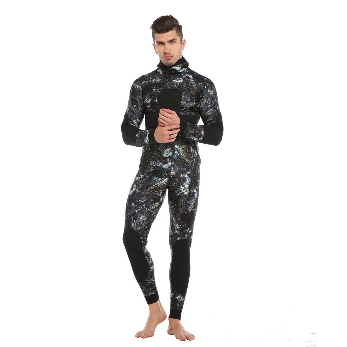 sportmars 3 mm & 5 mm Coral Camouflage分割ウェットスーツKeep Warm DeepシュノーケリングサーフウェットスーツHunting魚Outfit forメンズ&レディース B07DK5G74F 5mm Large