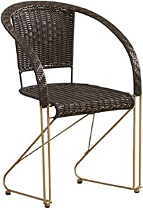 ZJDU All-Weather Wicker Chair, Wicker Stacking Chair,Metal Frame,Patio Balcony Furniture Dining Seats,Outdoor Dining Chair for Outside Patio Tables,Black