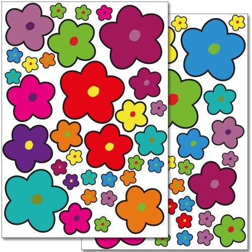 Set de stickers muraux Wandkings 'Fleurs coloré es - design 5' avec 68 autocollants sur 2 feuilles A4 Wandkings.de