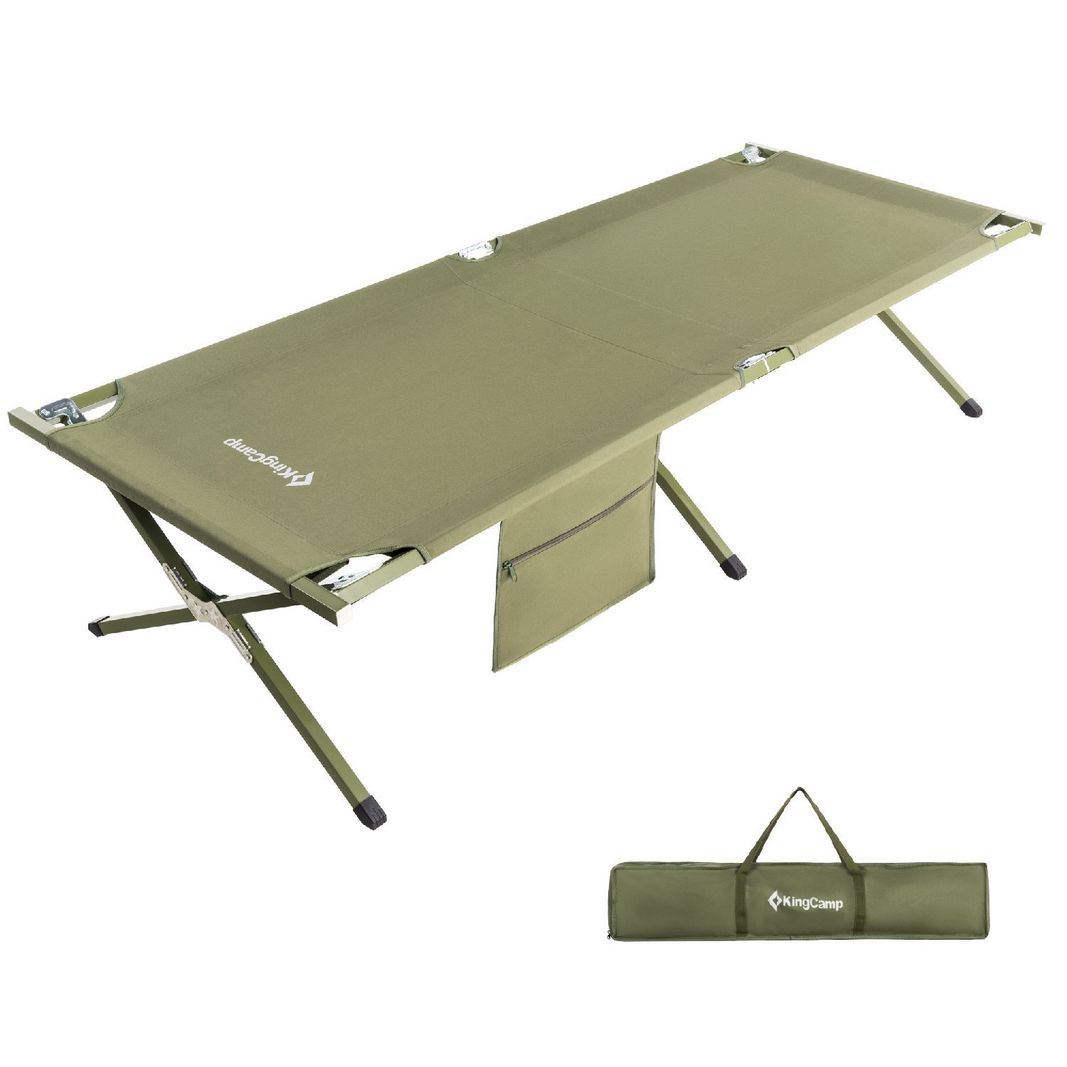 KingCamp Camping Cot OVERSIZED Heavy Duty Folding Bed Anodized Steel Frame with Washable Mildew Resistant Polyester Fabric, Support 300 lbs Carry Bag Included